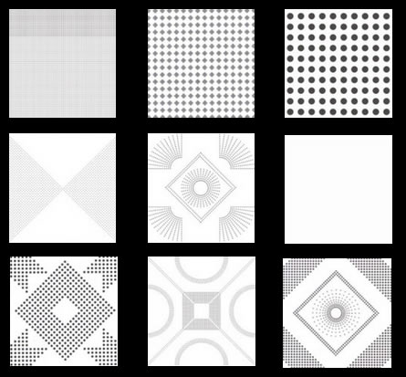 Perforation Designs of Metal Panels for Ceilings and Wall Panels